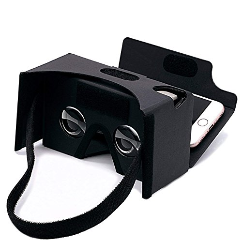 Google Cardboard,VR Headsets 3D Box Virtual Reality Glasses with Big Clear 3D Optical Lens and Comfortable Head Strap for All 3-6 Inch Smartphones (VR2.0 Black, 1 Pack)