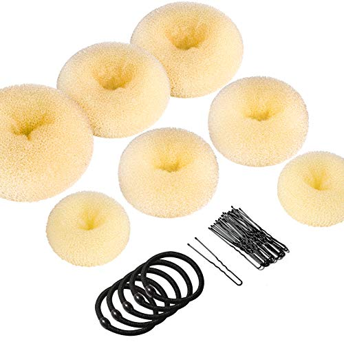 Donut Bun Maker, Teenitor Hair Bun Maker Ring Style Bun Maker Set with 5 Bands& 20 Bobby Pins & 7 Buns For Chignon Hair Styles Beige (2 Small 2 Medium 2 Large 1 Extra-large)