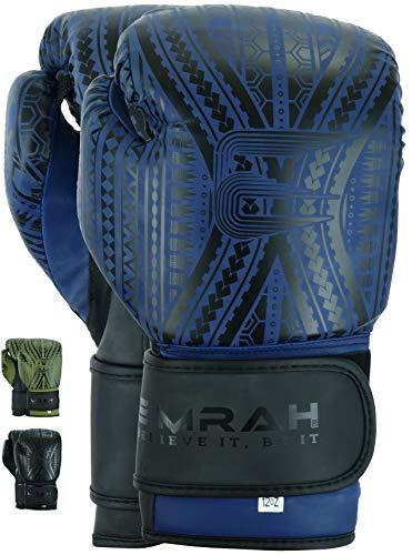 EMRAH Charged V-2 Boxhandschuhe, Muay Thai, Training, Sparring, Boxsack, Kickboxen, Kampf (matt, blau, 453 g)