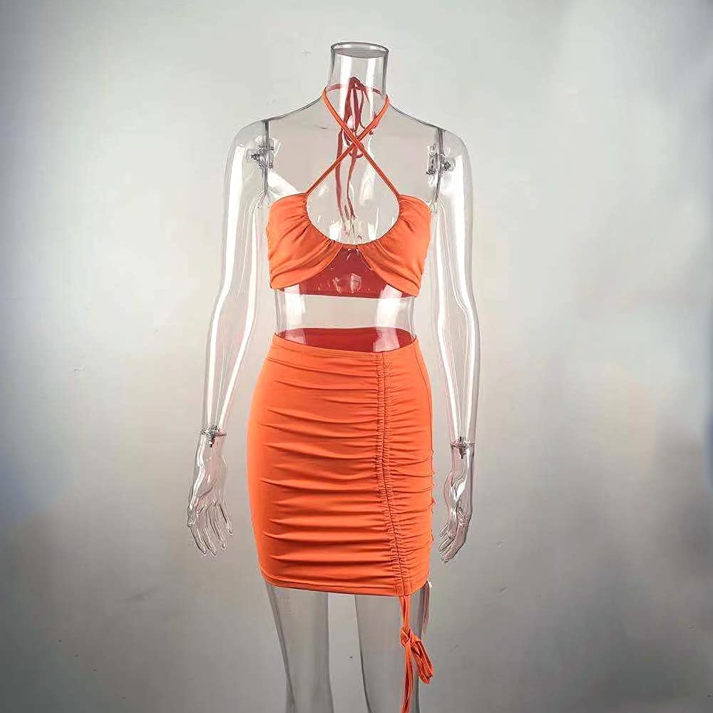 SHESEEWORLD Summer Sex Two Piece Outfits for Women Spaghetti Strap Crop Top and Drawstring Mini Skirt Beach Club Bodycon Sets