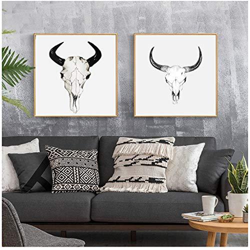 Cabeza de cabra blanca negra Arte de la pared Carteles Impresiones de la lona para la sala de estar, Restaurante Nordic Poster Wall Art Painting / 40X40Cm2Pcs-Sin marco