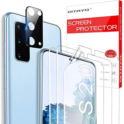 QITAYO für Samsung Galaxy S20 Schutzfolie und Kamera Panzerglas, Blasenfrei, Ultra-HD, Fingerabdruck-ID unterstützen Weich TPU Displayschutzfolie für Samsung S20 (3+1 Stück)