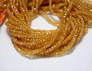 Cuentas de citrino, piedra de citrino gema, cuentas de 3 mm, rondelle facetado, piedra preciosa para joyas, hilo de 13.5 p...