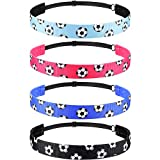 4 Pieces Non-slip Soccer Headband Adjustable Football Hairband for Girl Sport (Black, Blue, Rose Red, Light Blue)