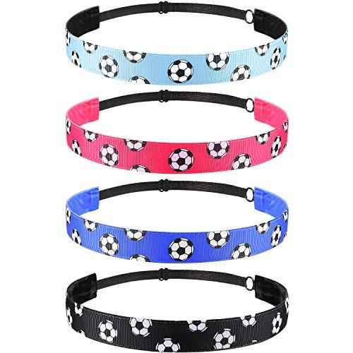 soccer headbands 4 Pieces Non-slip Soccer Headband Adjustable Football Hairband for Girl Sport (Black, Blue, Rose Red, Light Blue)