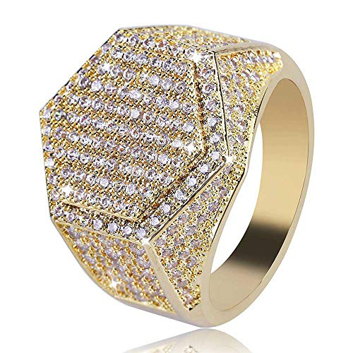 eyenjoy Stylish Hip hop Ring Bling Punky Ring for Men Men's Large Iced Out Wide Pave Cz Band Ring Pinky Ring