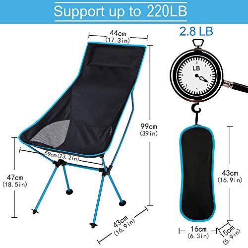 TAOPE Folding Camping Chair, Lightweight Portable Outdoor Chair For Fishing Garden Hiking Backpacking Travel Outside Seat BBQ Beach (Hold up to 220 lbs)- Blue