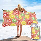 N/A Vitamin C Super Boost Citric Fruits On Peach Beach Quick Drying Towel Microfiber Yoga Fitness Absorbent Towel Outdoor Climbing Quick Drying Towel