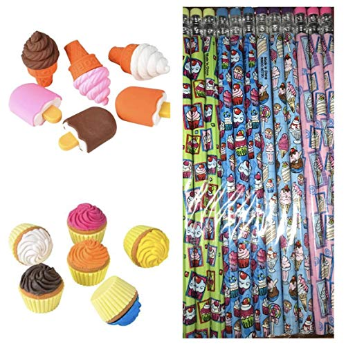 Rhode Island Novelty Sweets for Sweets -Dozen (12) Cupcake Ice Cream Pencils - (6) Scented Cupcake Erasers - (6) Ice Cream Erasers Party Favors Stocking Stuffers Teacher Classroom Supplies