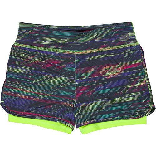New Balance Big Girls' Layered Bike Shorts, Lime Glo/Rainbow, 10/12