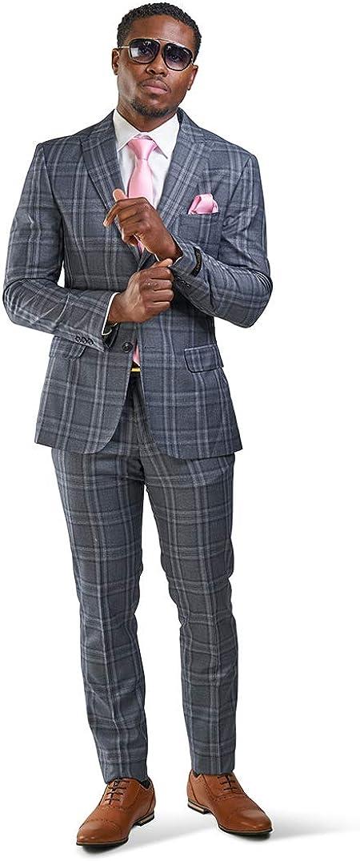 Slim Fit Suit 2 Button Peak Lapel Windowpane Plaid Vest Optional 35071