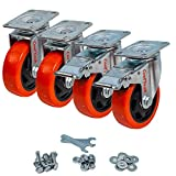 CoolYeah 4 inch Swivel Plate PVC Caster Wheels, Industrial, Premium Heavy Duty Casters (Pack of 4, 2 with Brake & 2 Without)…