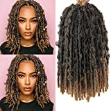 12 Inch Butterfly Locs Crochet Hair Short Bob Butterfly Locs Distressed Locs Most Natural Pre Looped Crochet Braids Hair Extension 80strands(#1B/27, 12inch)