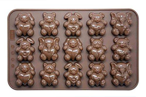 Silicone Gold Corazones Molde bombón, Silicona, Marron, 23x14x4 cm