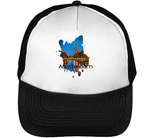 Crazy Amsterdam Series Theme Viva Men's Baseball Trucker Cap Hat Snapback Black White
