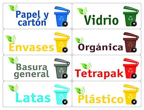 TICO KIT-OF24-ES Etiquetas para Reciclaje Basura. Pegatinas la gestión de residuos. Surtido 24 120x45mm