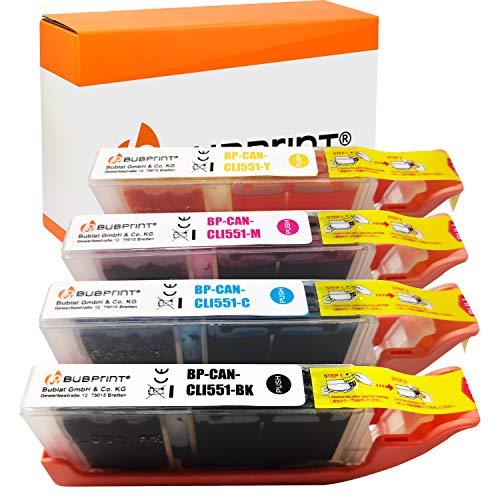 4 Bubprint Druckerpatronen kompatibel für Canon CLI-551 XL CLI-551XL für Pixma IP7200 IP7250 IX6850 IP8750 MG5450 MG5550 MG5650 MG6350 MG6450 MG6650 MG7150 MG7550 MX725 MX920 MX925 Multipack