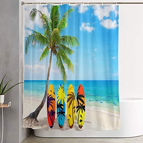 KGSPK Cortinas de Ducha,Tablas de Surf Beach Palm Tree,Cortina de baño Decorativa para baño,bañera 180 x 180 cm