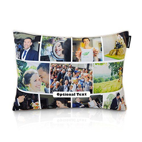 HappySnapGifts Personalised Cushion Photo Collage Cushion (Cotton Fabric - Natural, 36cm x 25cm)