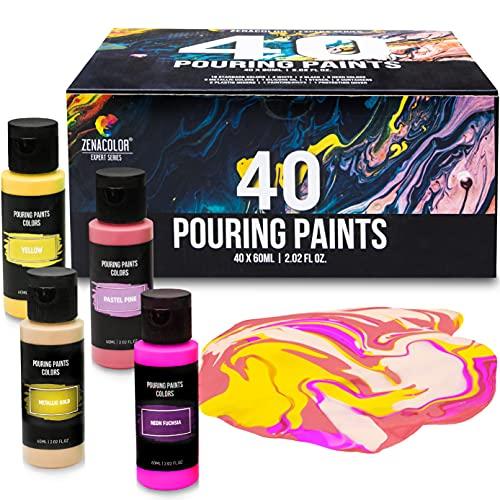 Kit 40 Peinture Acrylique Pouring, Tube 60mL, 40 Couleurs Vibrantes, Acrylique Peinture Toute Prete, Peinture Liquide Pour Toile, Papier, Bois