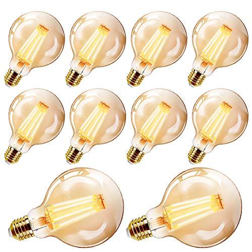 YDHNB 10 Stück Retro LED Edison Glühbirne E27 Dimmbar 4W (Ersetzt 40W) Vintage Glühbirne LED Filament Birne Lampe Warmweiß für Nostalgie Dekorative Beleuchtung im Haus Café Bar,10 pcs 220v,G125