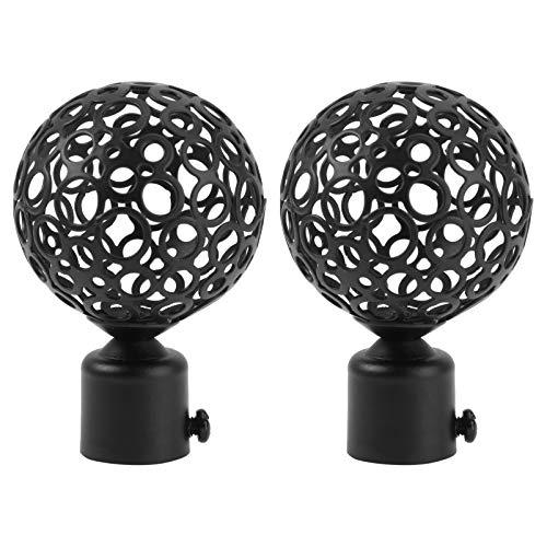 Angoily 2 Piezas de Varilla de Cortina Negra con Acabado de Varilla de Bola con Extremos Decorativos para Tratamiento de Ventanas