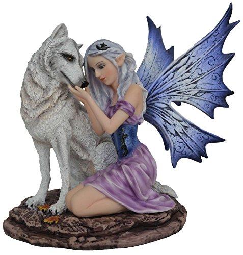 Statuette FEE LAÏCA ET Son Loup (HT 17 cm), Figurine Loup, Loup