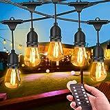 Guirnalda Luces Exterior, FOCHEA 15M Luces de Cadena Regulable con 15 LED Bombillas & E27 Base IP65 Impermeable para Jardín Patio Fiesta