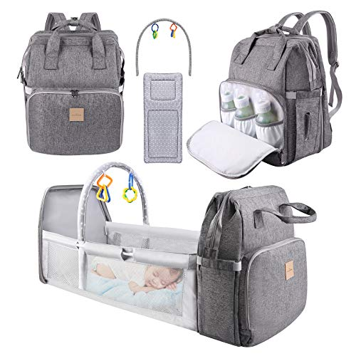 Diaper Bag Backpack, Eccomum 4 in 1 Travel Foldable Baby Bed, Baby Diaper Bags with Changing Station, Boy Girl Dad Diaper Bag, Nappy Bag, Large Capacity Multifunction Waterproof, Stroller Straps Grey