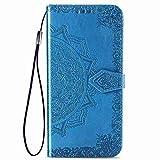 HAOYE Funda para LG K41S Funda, Suave PU Cuero Flip Carcasa Case Cover, Cubierta Magnética en Relieve de la Mandala, Billetera con Soporte/Tapa Tarjetas. Azul