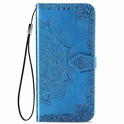 HAOTIAN Hülle für Xiaomi Poco X3 NFC/Poco X3 Pro Hülle, Mandala Geprägtem PU Leder Magnetische Filp Handyhülle mit Kartensteckplätzen/Standfunktion, [Anti-Rutsch Abriebfest] Schutzhülle. Blau