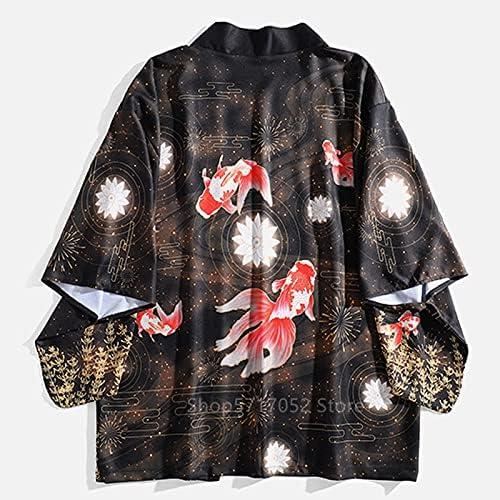 GZSZYA Asian Japanese Style Traditional Clothing Women Men Couple Cardigan Warriot Retro Men's Robes (Color : Koi, Size : XX-Large)