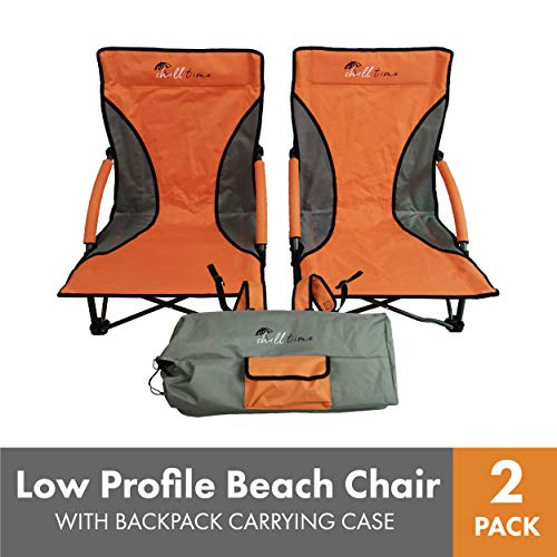 Chill Time RPBC2P Low Profile Beach Chair 2 Pack with Backpack Carrying CASE, Orange/Grey