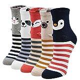 Calcetines Divertidos Mujer Calcetines Térmicos, Calcetines de Algodón Mujer Calcetines Animales Perros Originales, Calcetines de Navidad, 5 Pares