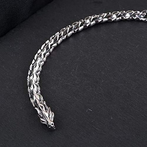 zhenfa Brazalete, Brazalete de quilla con Escala de dragón Vintage Plateado S925, Brazalete de Grifo, Adecuado para Que Todos lo usen, Elegante joyero, Cada Momento: un Regalo Encantador