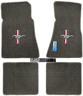 1979 To 1993 Ford Mustang 4pc Gray Floor Mats Pony and Tribar Logo