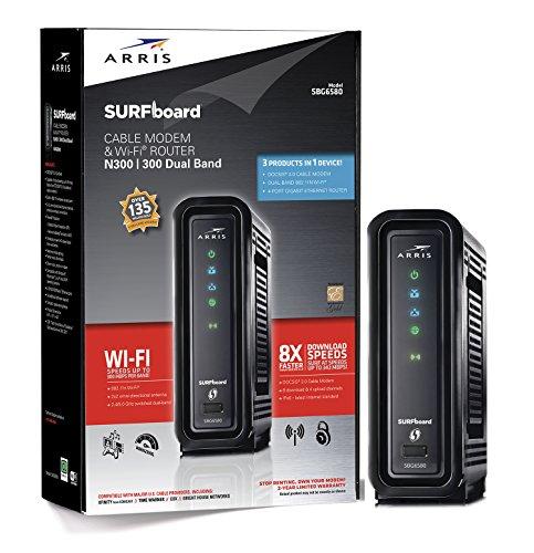 ARRIS Surfboard SBG6580-2 8x4 DOCSIS 3.0 Cable Modem/Wi-Fi N600 (N300 2.4Ghz + N300 5GHz) Dual Band...