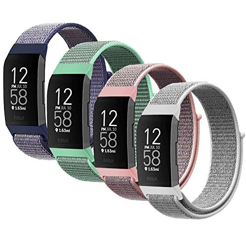 YOUKEX Nylon Watch Band Compatible with Fitbit Charge 3 Band/Fitbit Charge 4 Bands/SE HR Band, Soft Breathable Replacement Wristband Sport Strap with Band for Women Men (4P-1)