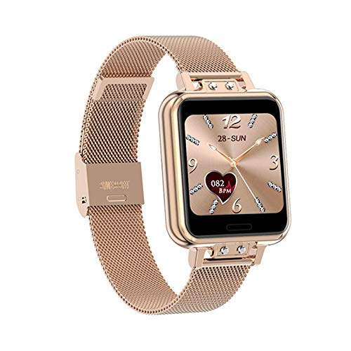 Smart Watch Women Touch Completo Impermeable Fitness Tracker Presión Arterial Deportes Reloj Inteligente Mujeres GTS SmartWatch (Color : Gold)