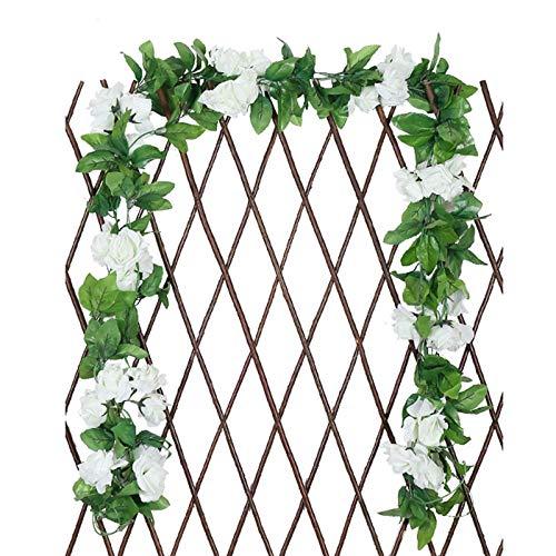 Blumengirlande Künstlich Kunstblumen Hängend Rosen Blumen Girlande Fake Blumen Hängepflanze Blätter Girlande für Zuhause Wand Garten Hochzeit Bogen Anordnung Dekoration