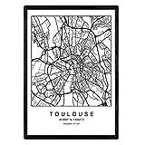 Nacnic Drucken Toulouse Stadtplan nordischer Stil schwarz und weiß. A3 Größe Plakatrahmen Das Bedruckte Papier Keine 250 gr. Gemälde, Drucke und Poster für Wohnzimmer und Schlafzimmer