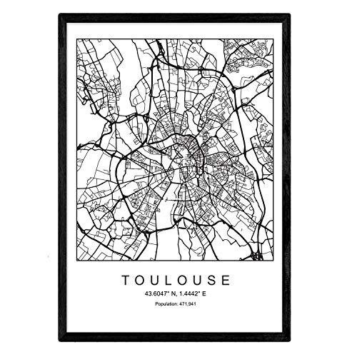 Nacnic Lámina Mapa de la Ciudad Toulouse Estilo nordico en Blanco y Negro. Poster tamaño A3 Sin Marco Impreso Papel 250 gr. Cuadros, láminas y Posters para Salon y Dormitorio