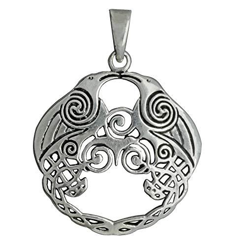 Colgante de cuervo celta Triskelion Morrigan de plata de ley 925, 6 g, beldiamo