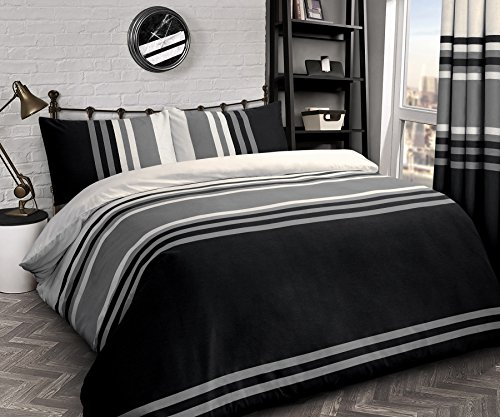Velosso Tonal Striped Teenagers Adults Reversible Quilt Duvet Cover and Pillowcase Bedding Bed Set Black Grey (Black, Single)
