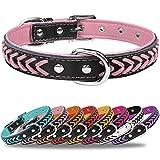 TagMe Collar de Cuero para Perro, Collares de Cuero Ajustables y Duraderos con Anillo en D para Perros Pequeños, Rosado