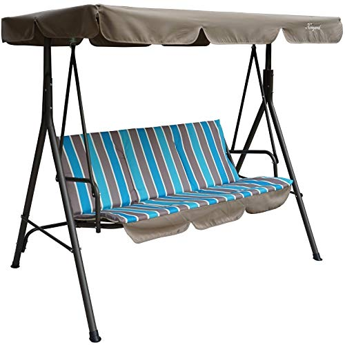 Alicia Patio Swing Chair with 3 Comfortable Cushion Seats and Strong Weather Resistant Powder Coated Steel Frame (Blue Stripe)