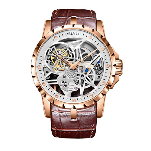 Mens Army Militray Watches Skeleton Dial Rose...