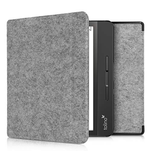kwmobile Hülle kompatibel mit Tolino Epos 2 - Filz Stoff eReader Schutzhülle Cover Case - Hellgrau