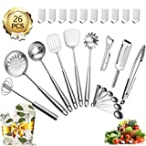 Stainless Steel Kitchen Utensil Set - 26 piece Cooking Utensils Set with Spatula, Soup Ladle,...