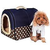 ACTNOW - casa de mascotas y sofá portátil 2 en 1, antideslizante para perro o gato, cálido y adorable, 3 tamaños, color azul
